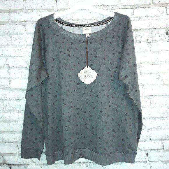 Knox Rose Women's Star Sweatshirt Gray XL